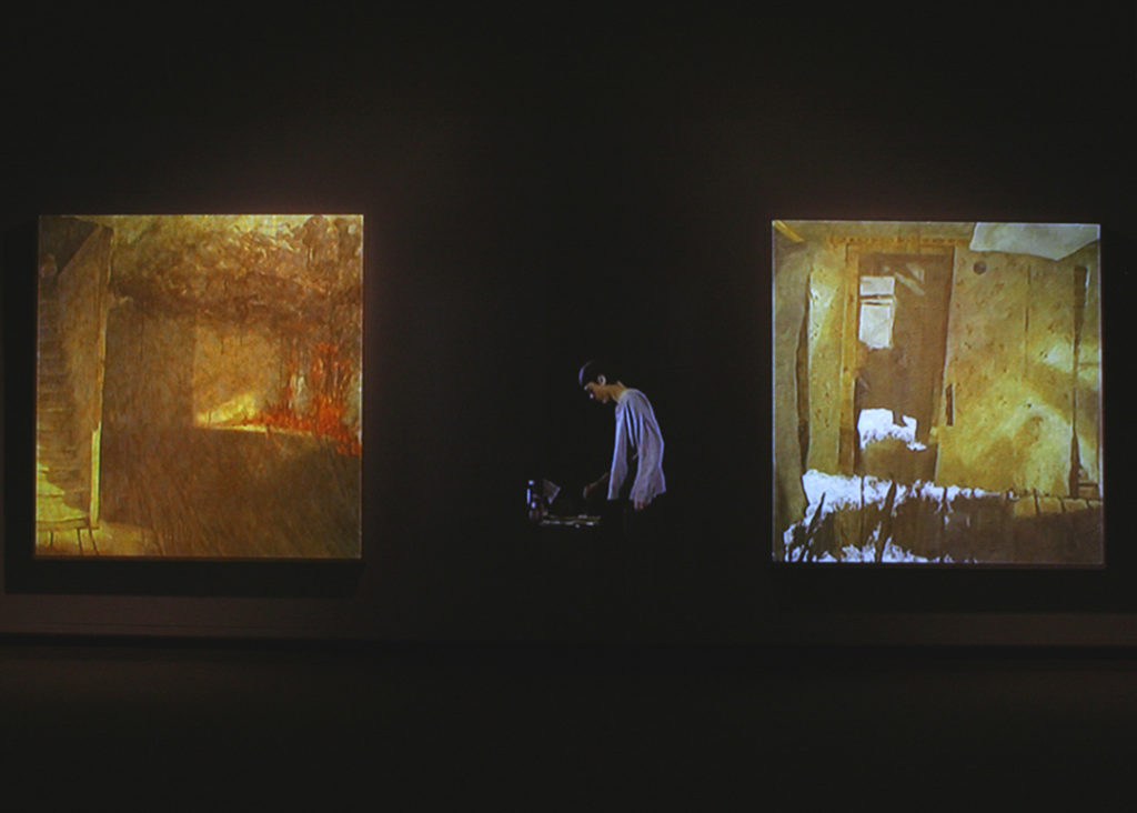 Abandon, by the old dirt road | Jeff Nye, 2006 | multimedia installation (video projection, audio and oil on canvas)