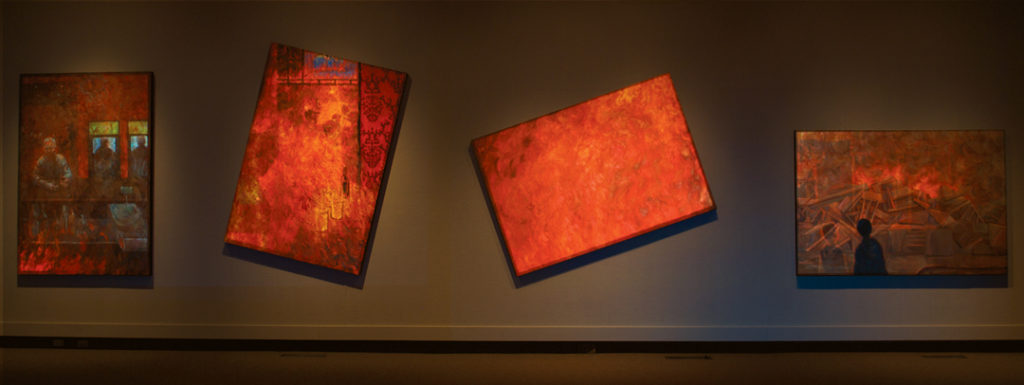 The Fire (detail) | Jeff Nye, 2011 | Multimedia Installation (video projection, audio & oil on canvas