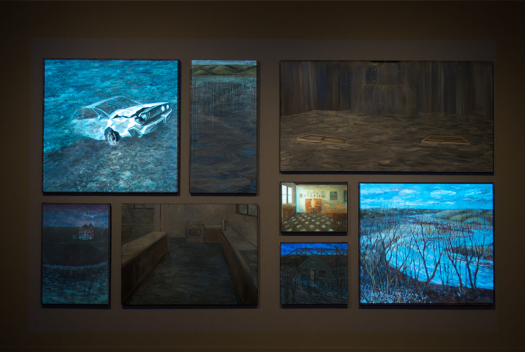 The Flood (detail) | Jeff Nye, 2011 | Multimedia Installation (video projection, audio & oil on canvas