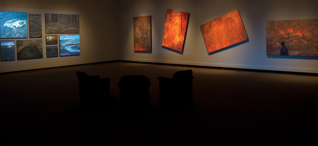 The Fire and The Flood | Jeff Nye, 2011 | Multimedia Installation (video projection, audio & oil on canvas
