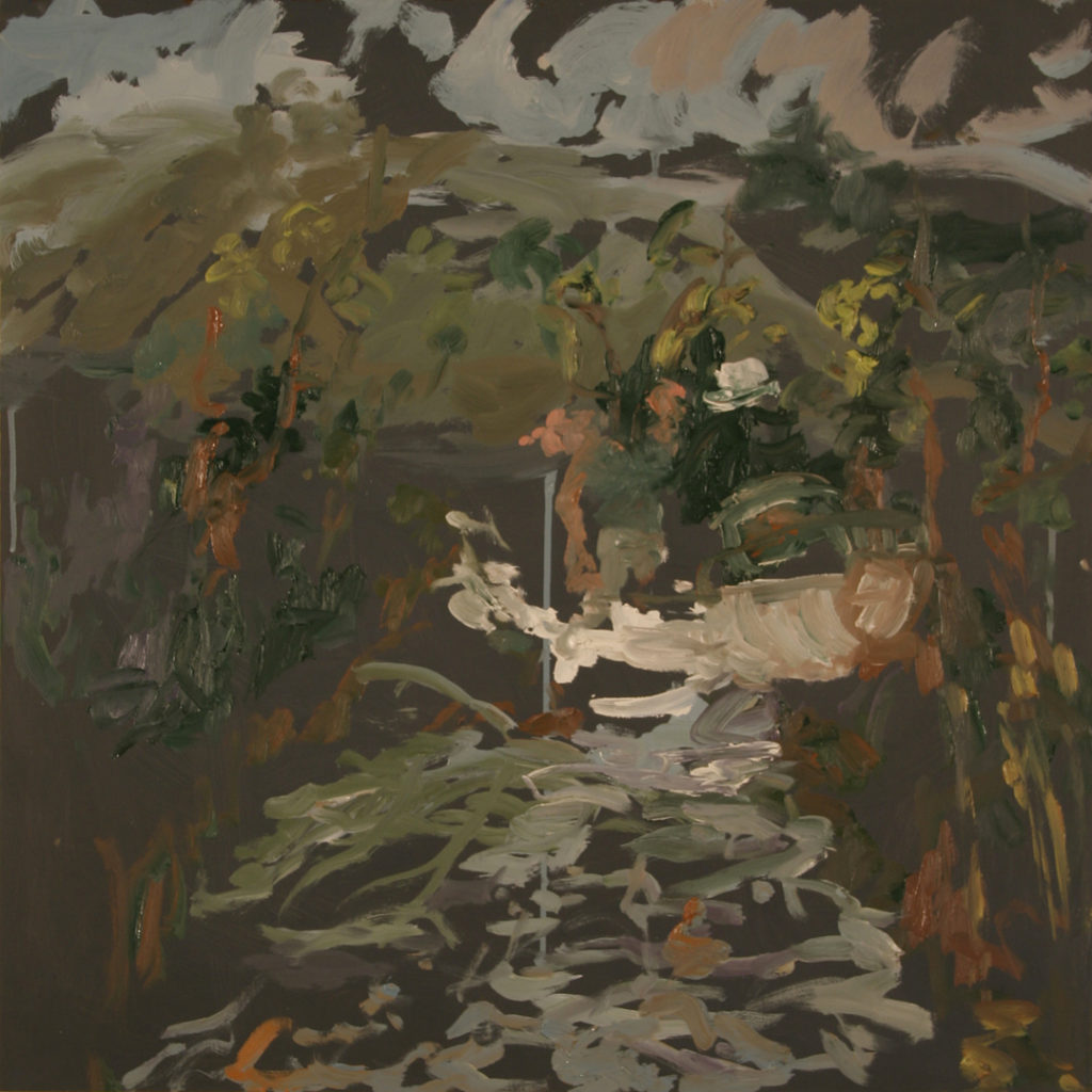 "Apparently, they used to fish from motor boats along the creek. | Jeff Nye, 2006 | oil on hardboard | 24"" x 24"""