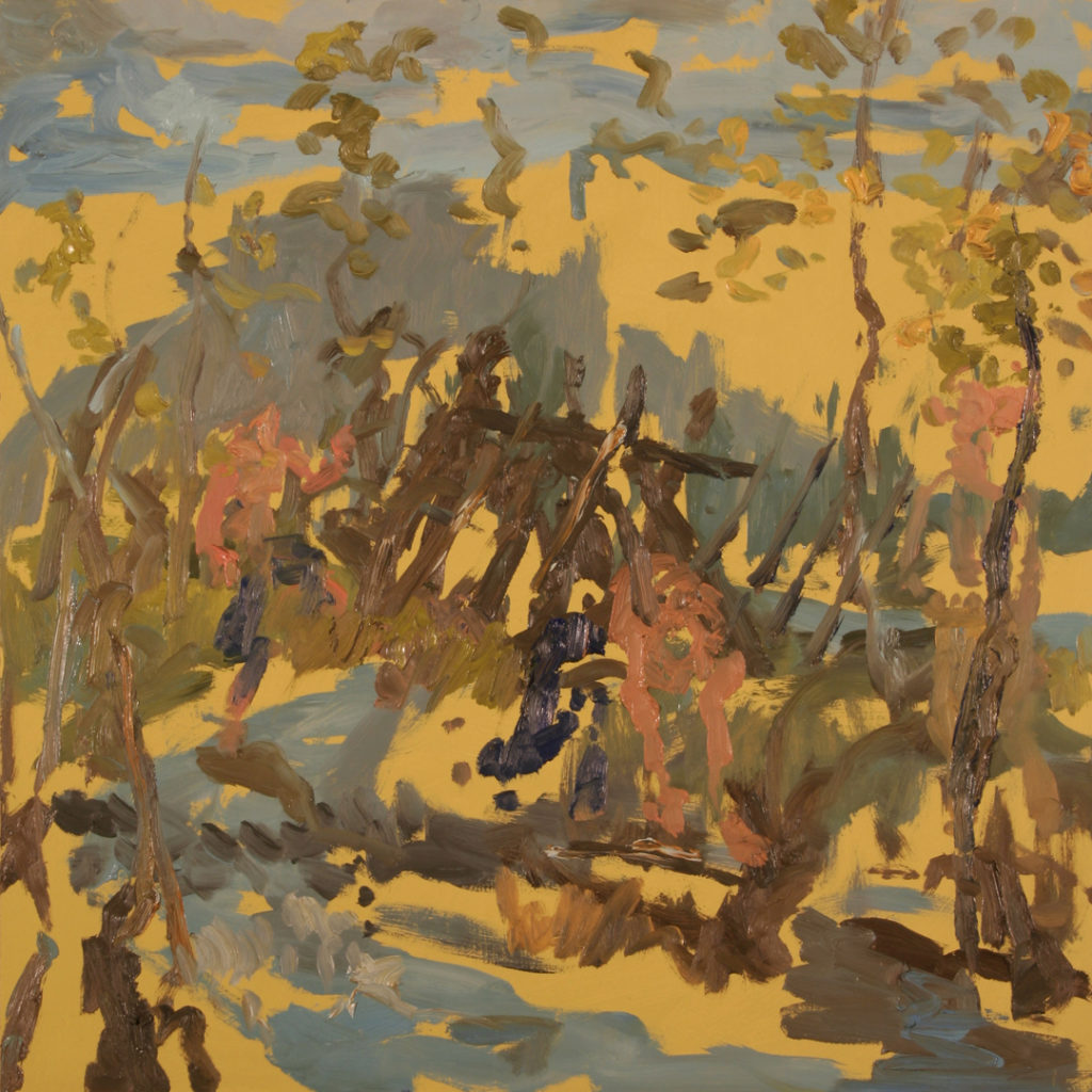 "I don't remember the tree fort, but the cousins talk about it every once in a while. | Jeff Nye, 2006 | oil on hardboard | 24"" x 24"""