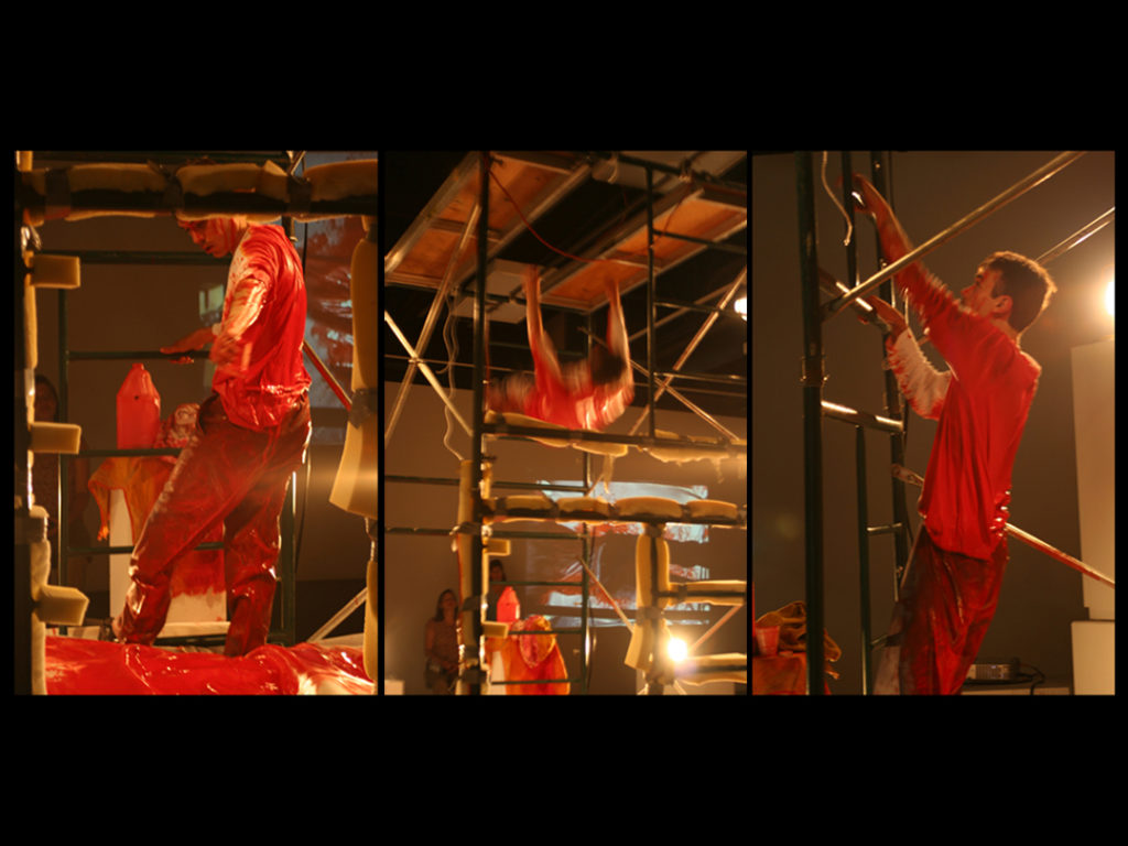 Icarus, again and again falling | Jeff Nye, 2007 | performance with paint