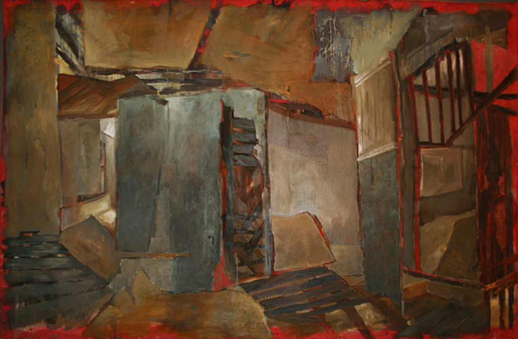 "Not Stable, Not Safe and Not Secure | Jeff Nye, 2005 | installation of unstretched oil on canvas | 120"" x 420"""