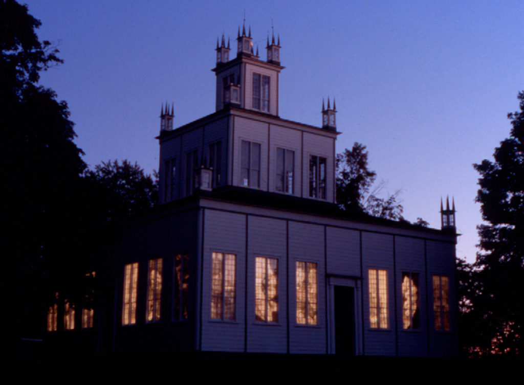 Time Piece | Jeff Nye, 2003 | site-specific installation at Sharon Temple(ink on mylar during sunset)