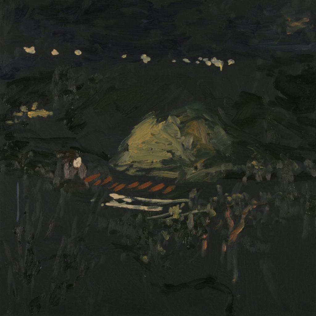"When the train stops at night, it's like a massive flash light pointing down the valley | Jeff Nye, 2006 | oil on hardboard | 24"" x 24"""